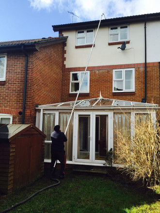 Gutter cleaning at a residential property in Redhill