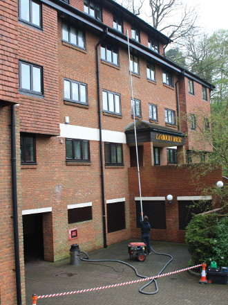 Gutter cleaning at a block of flats in Reigate